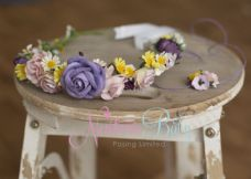 Floral Mummy Crown & Matching Baby Hair tie (Lilacs)